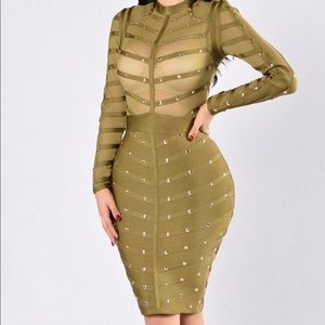 Perfect Kiss Bandage Dress - Olive size large
